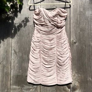 H&M neutral taupe strapless rushing ruffle dress